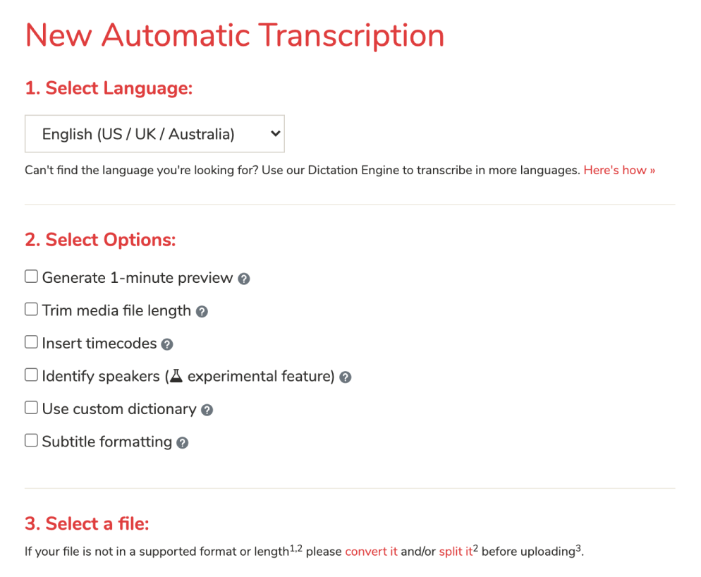 Various automatic transcription options.