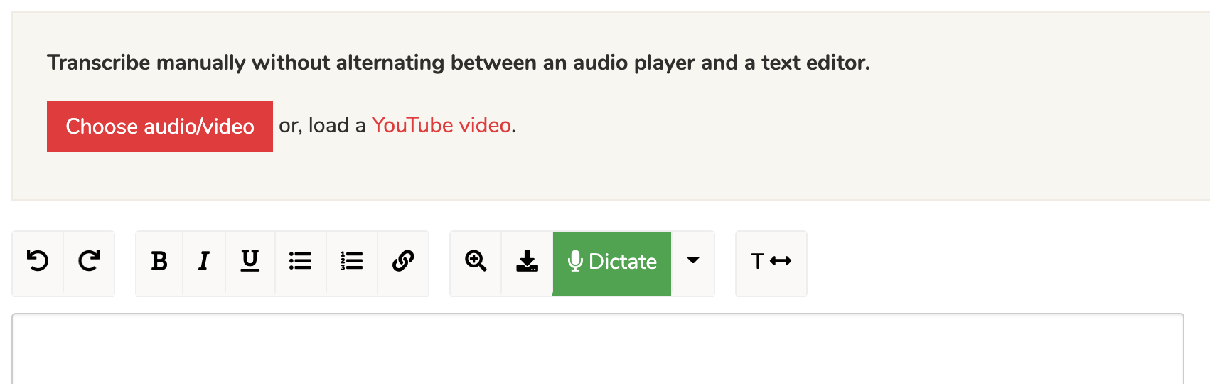 Upload audio for self transcription.
